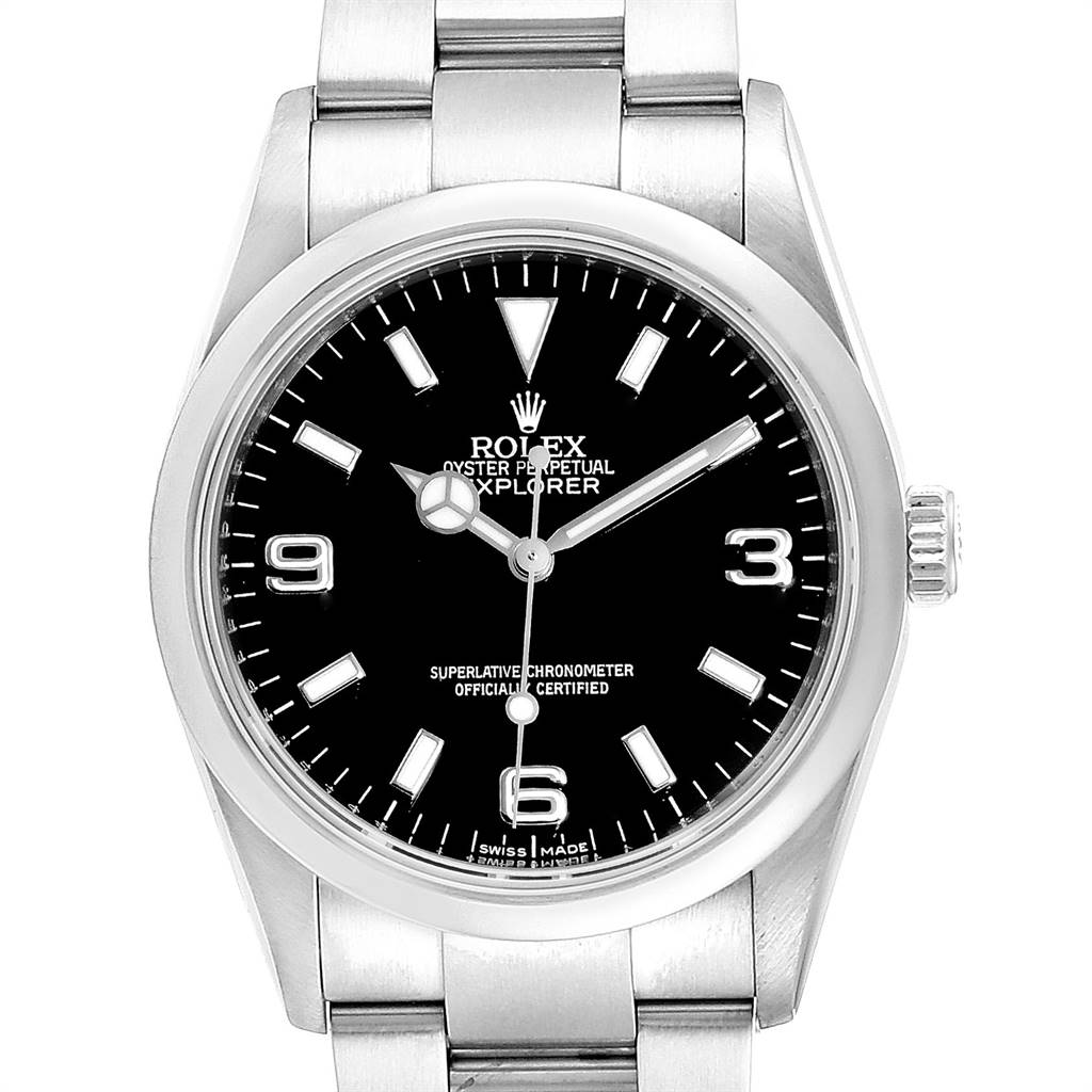 23867 Rolex Explorer I Black Dial Stainless Steel Mens Watch 114270 SwissWatchExpo