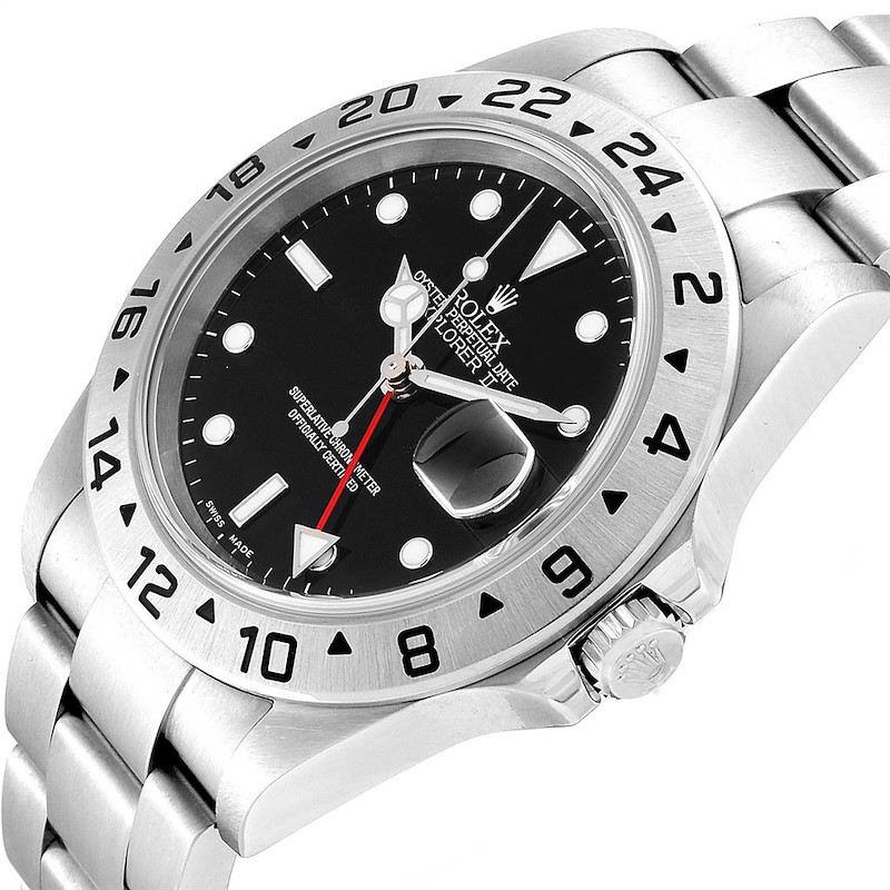Rolex Explorer II 40 Black Dial Automatic Steel Mens Watch 16570 SwissWatchExpo