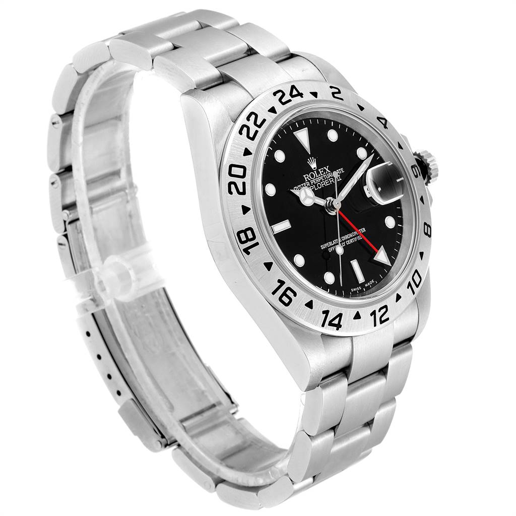 24166 Rolex Explorer II 40 Black Dial Red Hand Automatic Mens Watch 16570 SwissWatchExpo