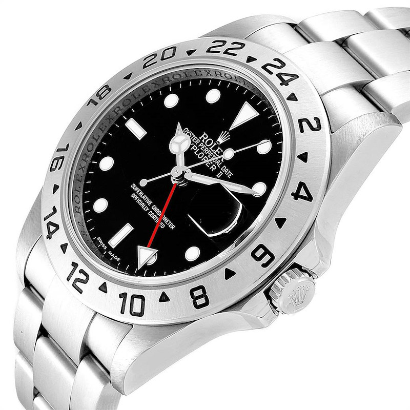 Rolex Explorer II 40mm Black Dial Parachrom Hairspring Mens Watch 16570 SwissWatchExpo