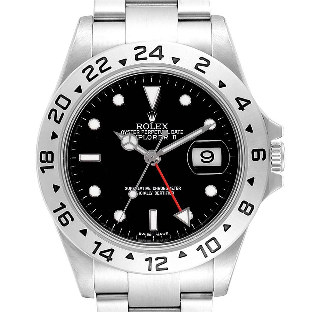 24645 Rolex Explorer II 40mm Black Dial Parachrom Hairspring Mens Watch 16570 SwissWatchExpo