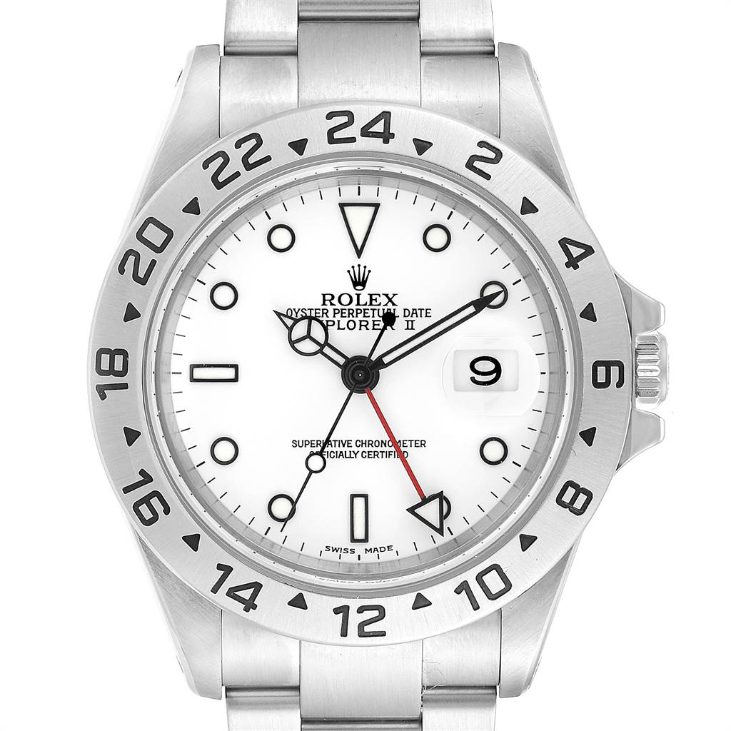 24927 Rolex Explorer II White Dial Red Hand Steel Mens Watch 16570 SwissWatchExpo
