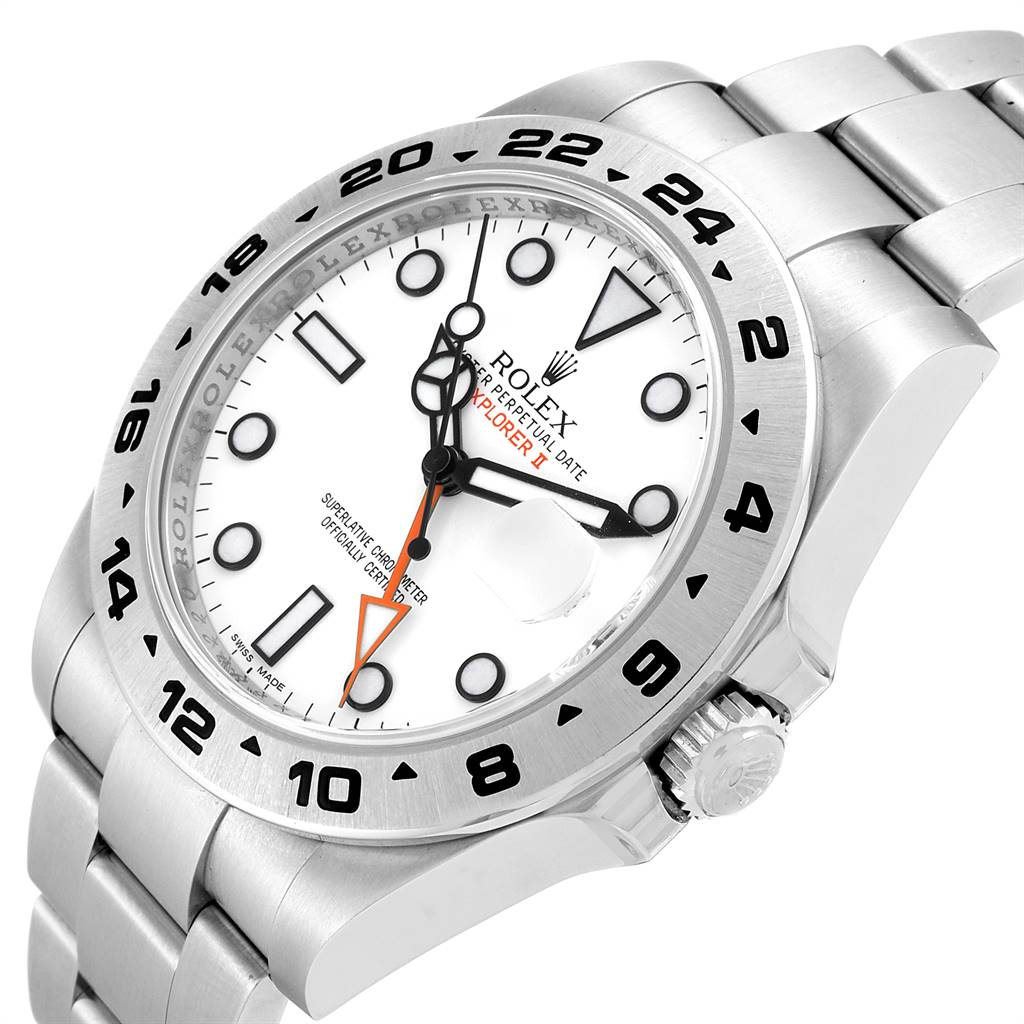 25075 Rolex Explorer II 42mm Orange Hand Steel Mens Watch 216570 Unworn SwissWatchExpo