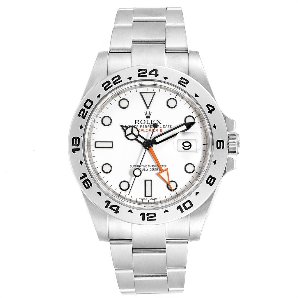 25084 Rolex Explorer II 42 White Dial Orange Hand Steel Mens Watch 216570 SwissWatchExpo
