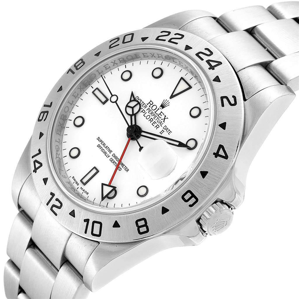 25095 Rolex Explorer II Red Hand Parachrom Hairspring Mens Watch 16570 SwissWatchExpo