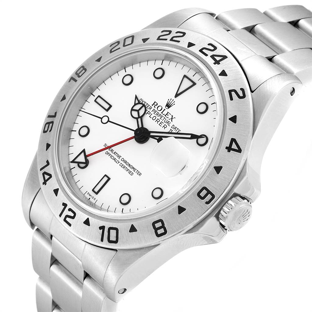 24926 Rolex Explorer II White Dial Red Hand Steel Mens Watch 16570 SwissWatchExpo