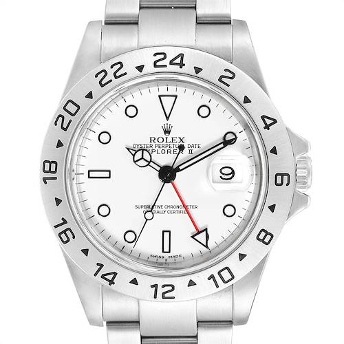 Photo of Rolex Explorer II White Dial Red Hand Steel Mens Watch 16570