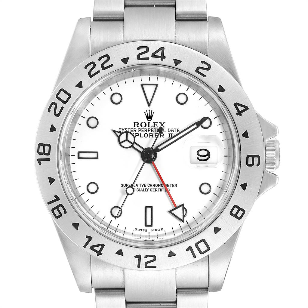 25204 Rolex Explorer II White Dial Red Hand Steel Mens Watch 16570 SwissWatchExpo
