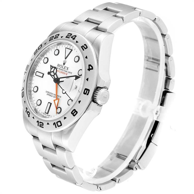 Rolex Explorer II 42mm White Dial Orange Hand Steel Mens Watch 216570 SwissWatchExpo