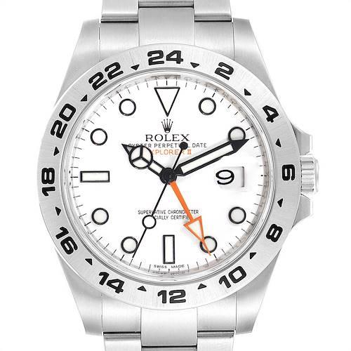 Photo of Rolex Explorer II 42mm White Dial Orange Hand Steel Mens Watch 216570