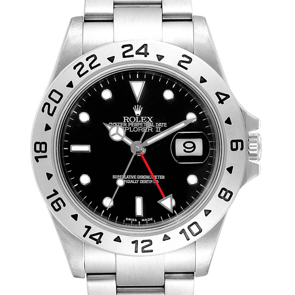 Rolex Explorer II 40 Black Dial Red Hand Automatic Mens Watch 16570 SwissWatchExpo