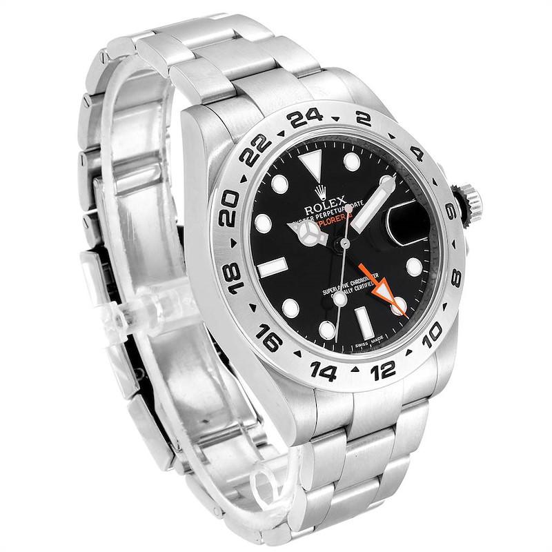 Rolex Explorer II 42 Black Dial Orange Hand Steel Mens Watch 216570 SwissWatchExpo