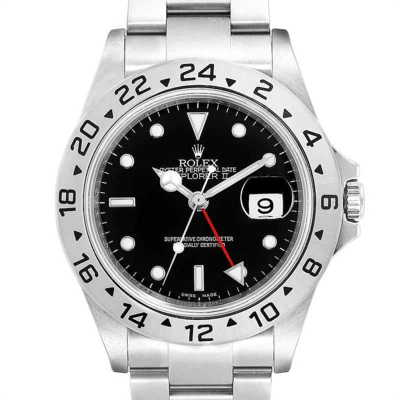 Rolex Explorer II 40 Black Dial Red Hand Steel Mens Watch 16570 Unworn SwissWatchExpo