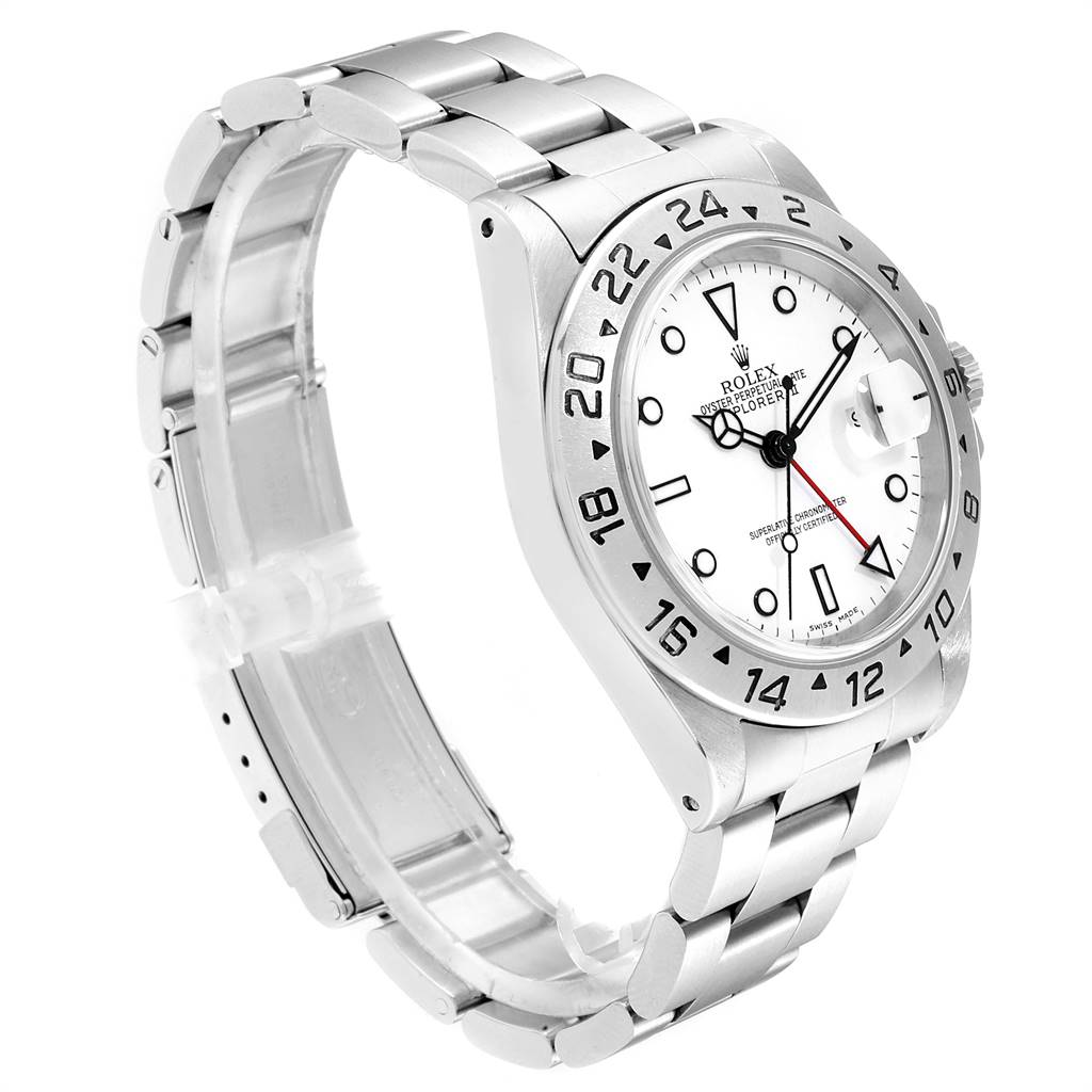 Rolex Explorer II White Dial Automatic Steel Mens Watch 16570 SwissWatchExpo