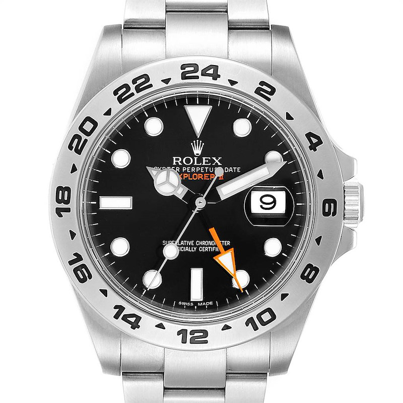 Rolex Explorer II 42 Black Dial Orange Hand Steel Mens Watch 216570 SwissWatchExpo