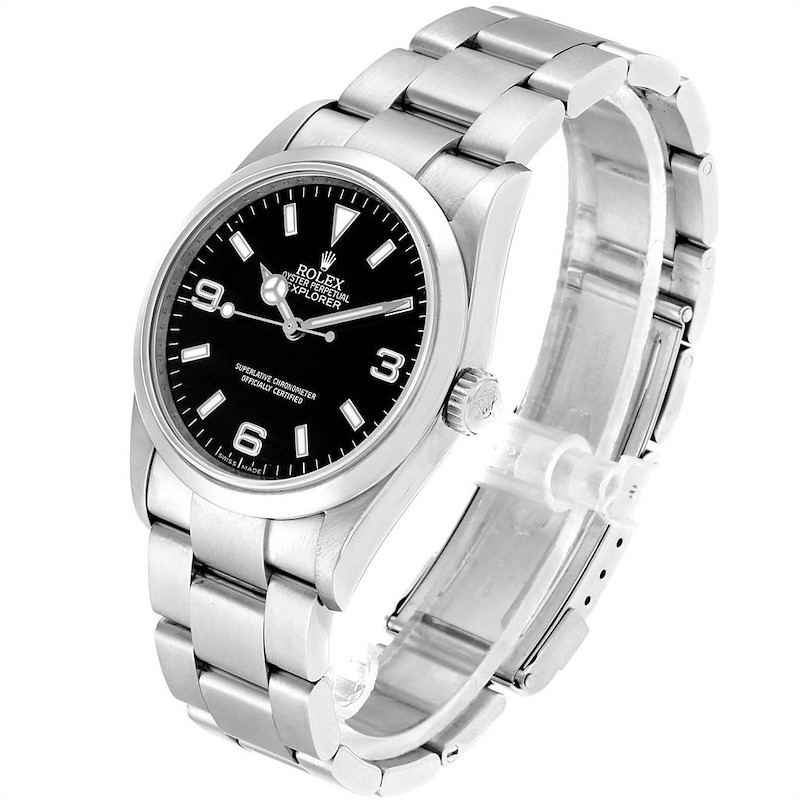 Rolex Explorer I 36mm Black Dial Automatic Steel Mens Watch 114270 SwissWatchExpo