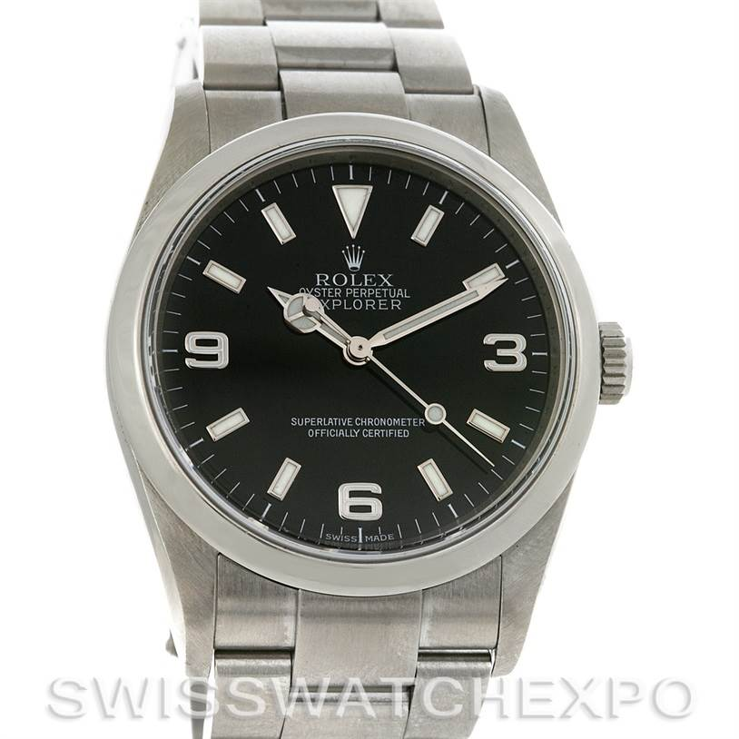 2763 Rolex Mens Steel Rolex Explorer I 114270 circa 2007 Z Serial SwissWatchExpo