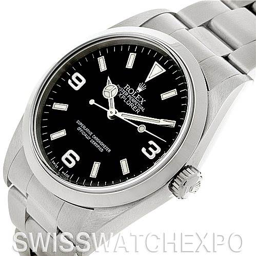 Mens Steel Rolex Explorer I Watch 14270 SwissWatchExpo