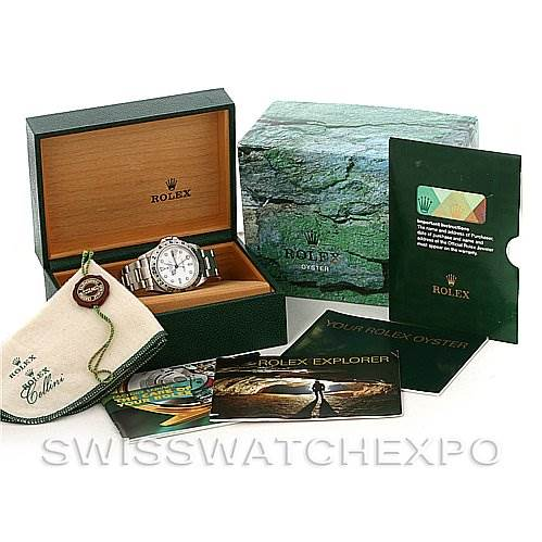 3066 Rolex Explorer II 16570 Mens Steel White Dial Watch SwissWatchExpo