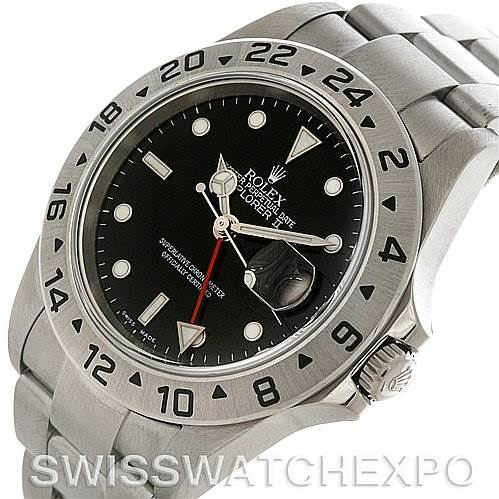 Rolex Explorer II 16570 Mens Steel Black Dial Watch SwissWatchExpo