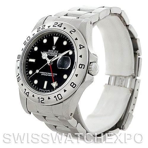 Rolex Explorer II 16570 Mens Steel Black Dial Watch SwissWatchExpo