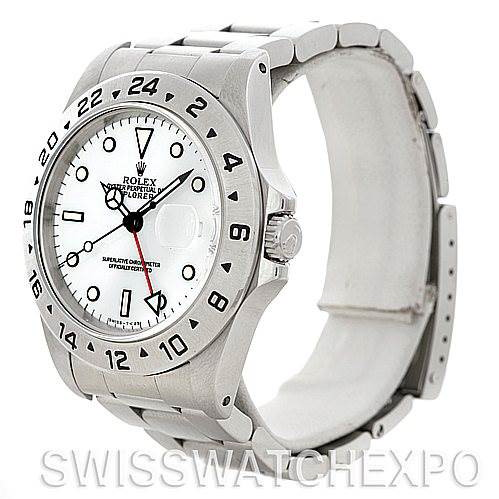 Rolex Explorer II 16570 Mens Steel White Dial Watch SwissWatchExpo