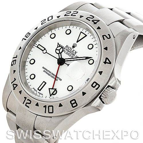 Rolex Explorer II 16570 Mens Steel White Dial Watch SwissWatchExpo