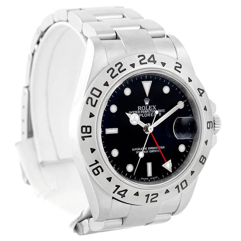 Rolex Explorer II Steel Black Dial Parachrom Hairspring Automatic Watch 16570 SwissWatchExpo