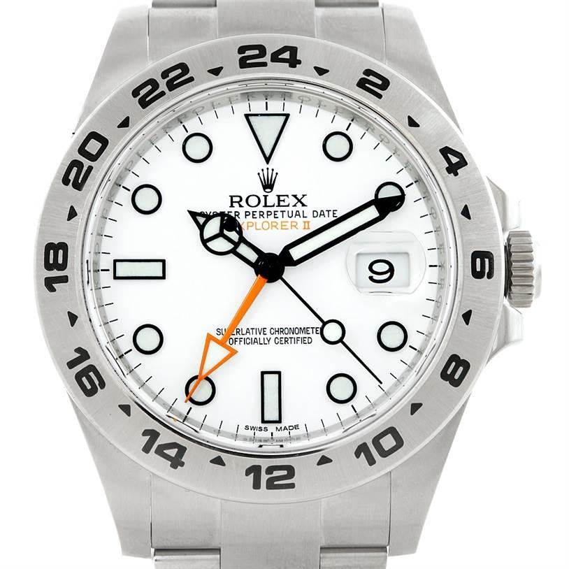 7216 Rolex Explorer II Mens Steel White Dial Watch 216570 SwissWatchExpo