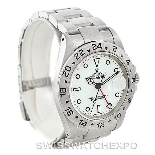 Rolex Explorer II Mens Steel White Dial Watch 16570 SwissWatchExpo