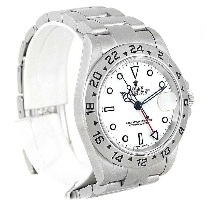 8424 Rolex Explorer II Mens Steel White Dial Watch 16570 SwissWatchExpo