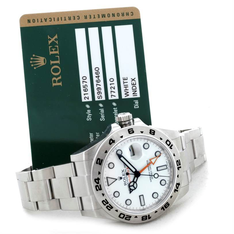 Rolex Explorer II Mens Steel White Dial Watch 216570 SwissWatchExpo
