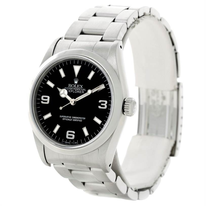 Rolex Explorer I Mens Stainless Steel Watch 14270 SwissWatchExpo