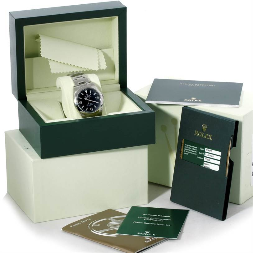 8902 Rolex Explorer I Stainless Steel Mens Watch 214270 SwissWatchExpo