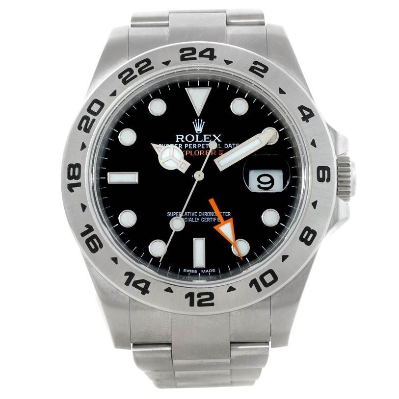 9185 Rolex Explorer II Mens Steel Black Dial Watch 216570 SwissWatchExpo