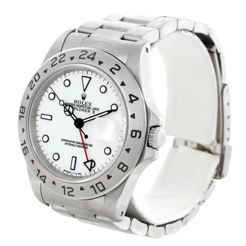 9216 Rolex Explorer II Mens Stainless Steel White Dial Watch 16570 SwissWatchExpo