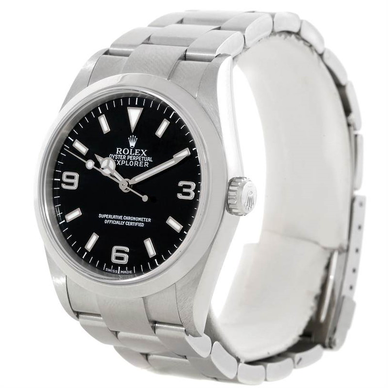 Rolex Explorer I Stainless Steel Black Dial Mens Watch 114270 SwissWatchExpo
