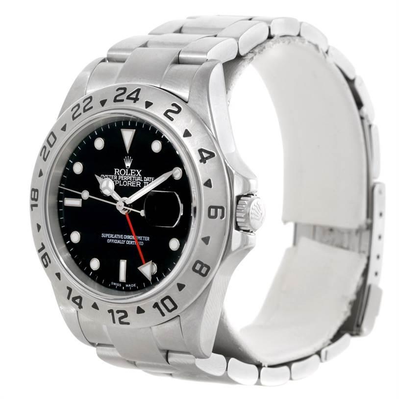 Rolex Explorer II Mens Stainless Steel Black Dial Watch 16570 SwissWatchExpo