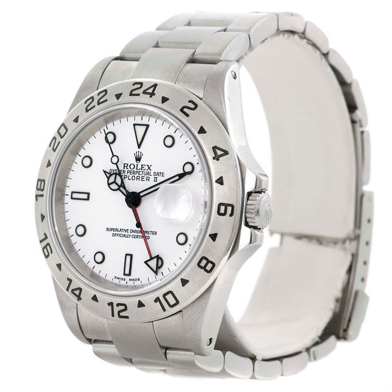 Rolex Explorer II Mens Stainless Steel White Dial Watch 16570 SwissWatchExpo