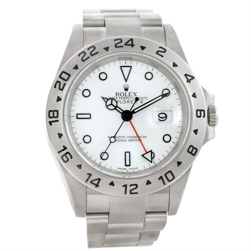 Rolex Explorer II Steel White Dial Watch 16570 SwissWatchExpo