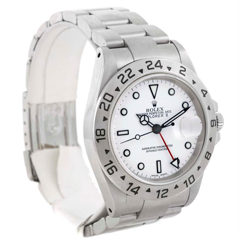 9631 Rolex Explorer II White Dial Mens Stainless Steel Watch 16570 SwissWatchExpo