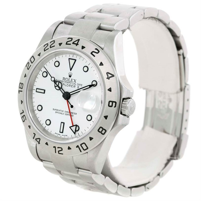 Rolex Explorer II Stainless Steel White Dial Mens Watch 16570 SwissWatchExpo