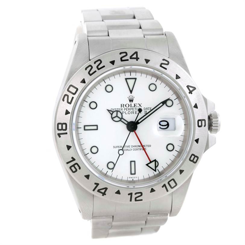 Rolex Explorer II White Dial Mens Stainless Steel Watch 16570 SwissWatchExpo