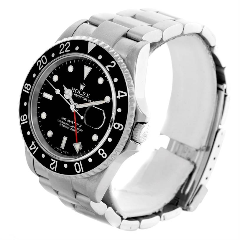 10380 Rolex GMT Master II Black Bezel Mens Stainless Steel Watch 16710 SwissWatchExpo