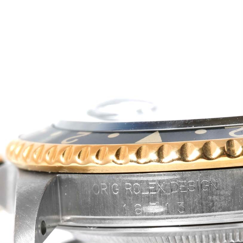 Rolex GMT Master II Mens 18k Yellow Gold Steel Watch 16713 SwissWatchExpo