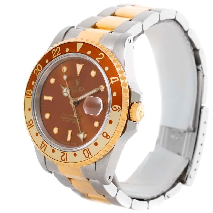 Rolex GMT Master II Mens Rootbeer 18k Yellow Gold Steel Watch 16713 SwissWatchExpo