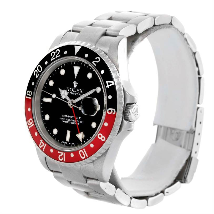 Rolex GMT Master II Black Red Coke Bezel Automatic Mens Watch 16710 SwissWatchExpo