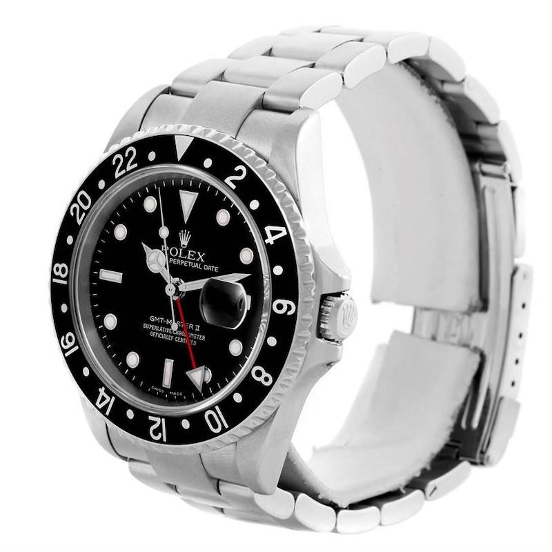 Rolex GMT Master II Black Bezel Mens Watch 16710 Year 2005 SwissWatchExpo