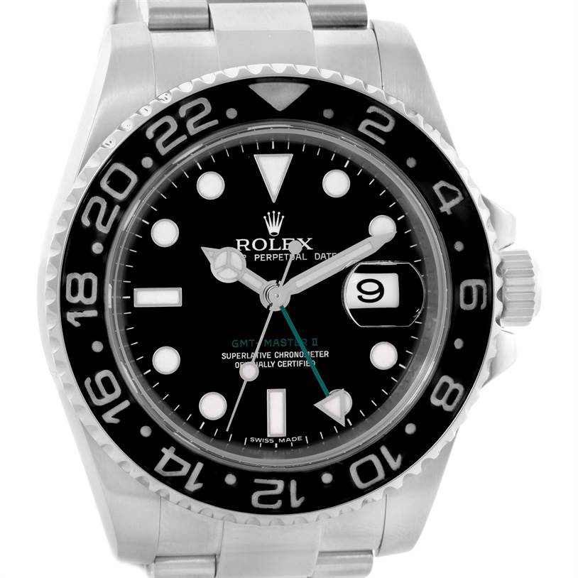 10761 Rolex GMT Master II Ceramic Bezel Mens Stainless Steel Watch 116710 SwissWatchExpo
