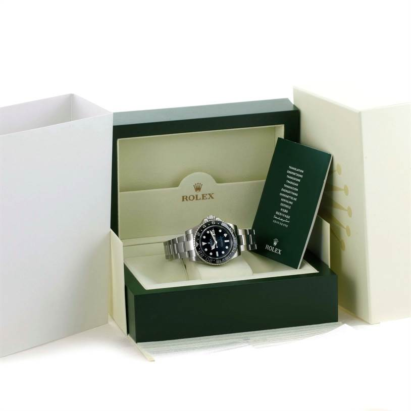 10770 Rolex GMT Master II Ceramic Bezel Mens Steel Watch 116710 Box Papers SwissWatchExpo